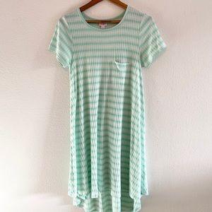 LulaRoe Carly Green/White Stripe High/Low Dress